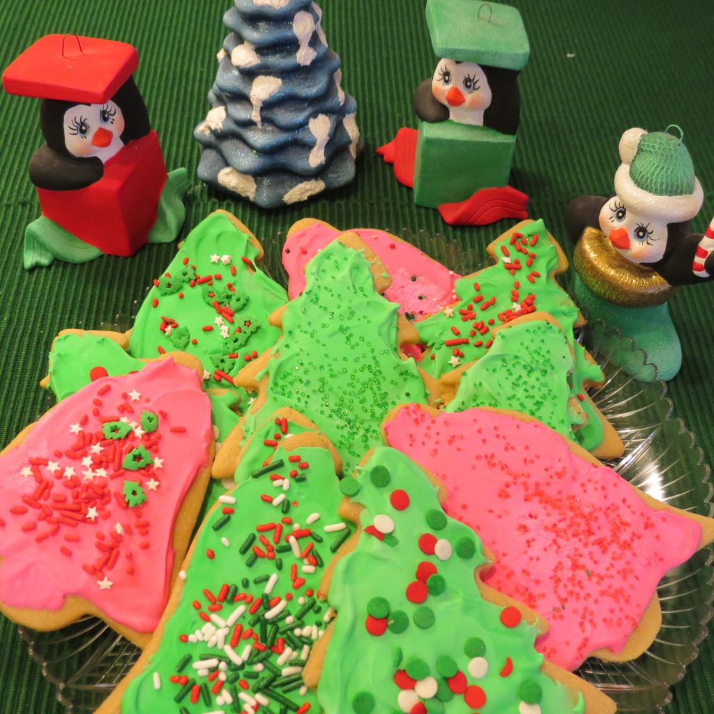 Chewy Cutout Christmas Cookies with penguins