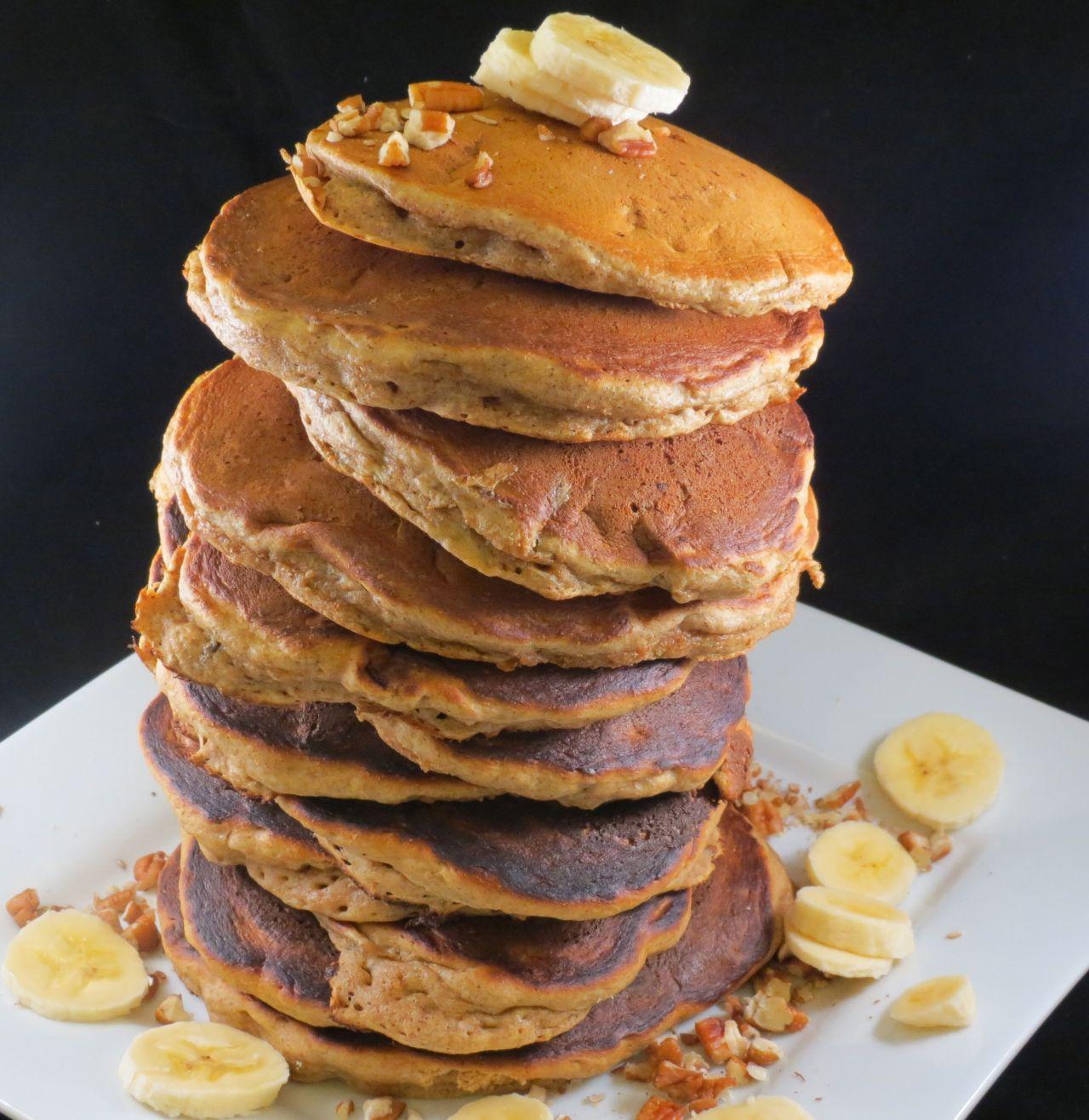 Banana Pecan Pancakes Stacked High