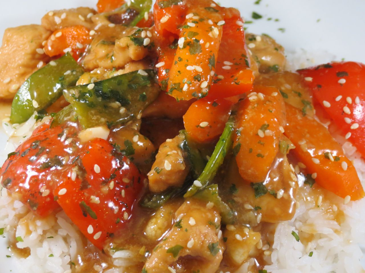 Ginger Honey Chicken Stir Fry Closeup