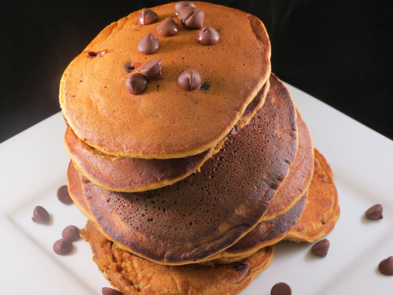 Pumpkin Chococlate Chips Pancakes stack of pancakes