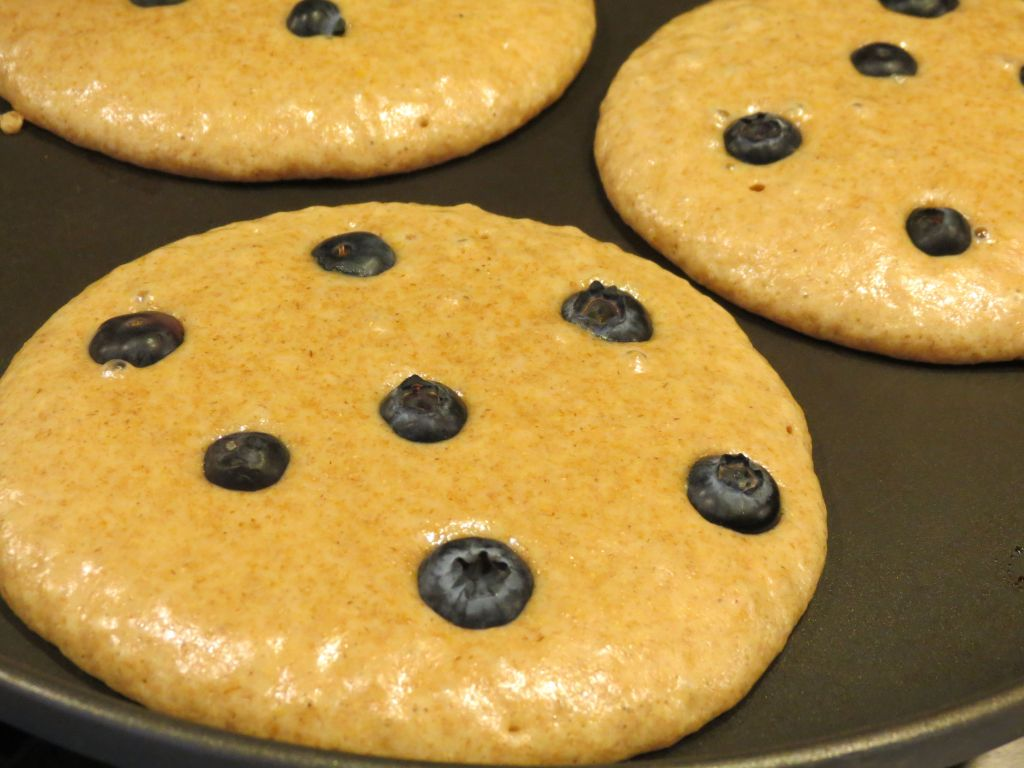 Blueberry Pancakes just before flipping pancakes