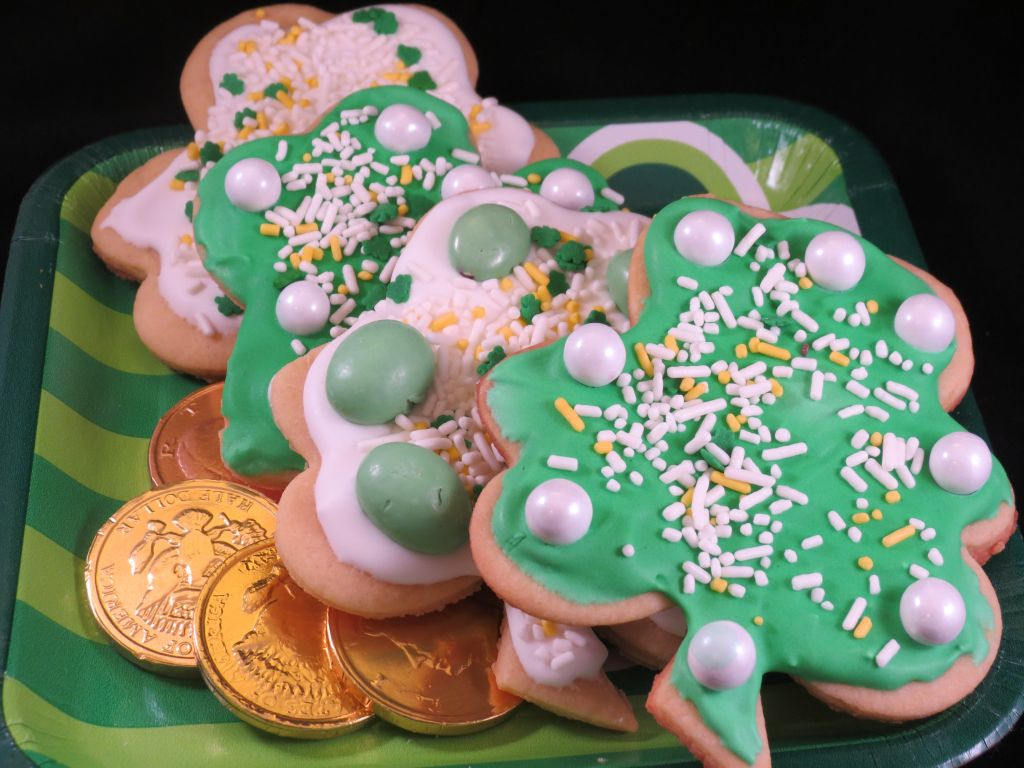 Irish Shamrock cut out cookies on a plate