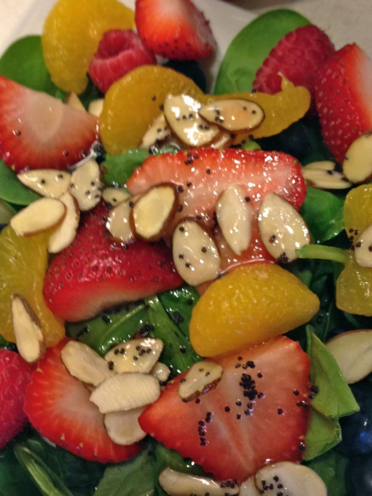 Poppy Seed Spinach Salad Close up