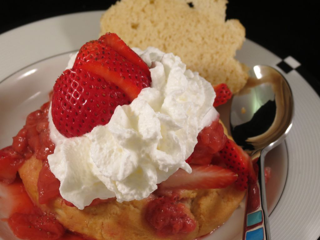 Strawberry Shortcake with Bourbon Strawberry Sauce another finished picture