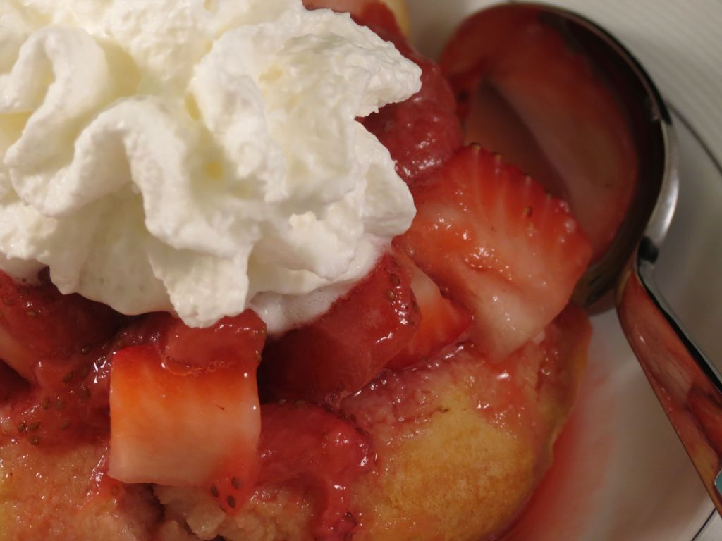 Strawberry Shortcake with Bourbon Strawberry Sauce closeup