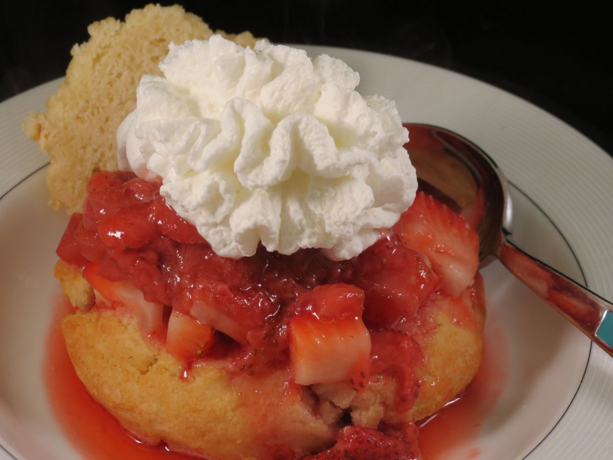 Strawberry Shortcake with Bourbon Strawberry Sauce