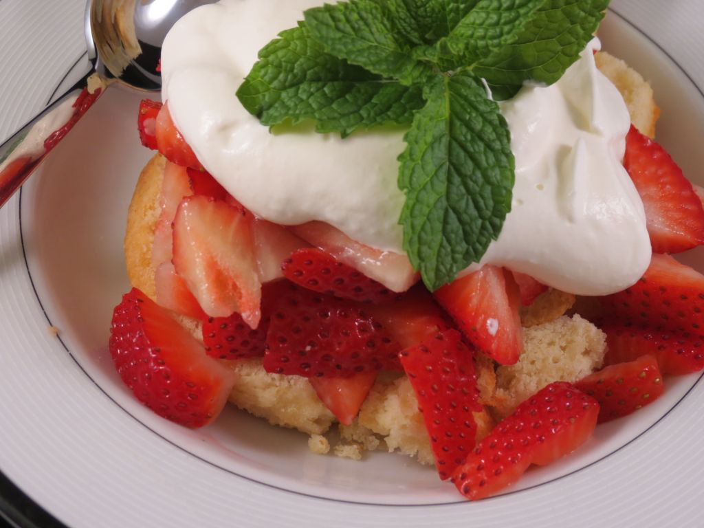 Strawberry Shortcake with Bourbon Whip Cream  closeup picture