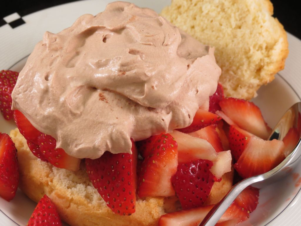 Strawberry Shortcake with Chocolate Whipped Topping closeup picture