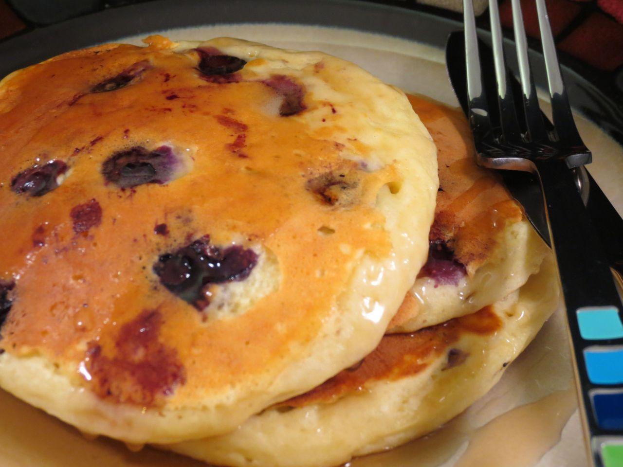 Blueberry Buttermilk Pancakes closeup