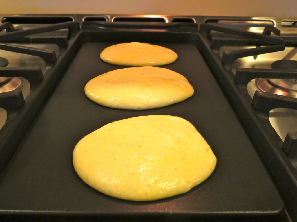 Pancakes on the griddle 1