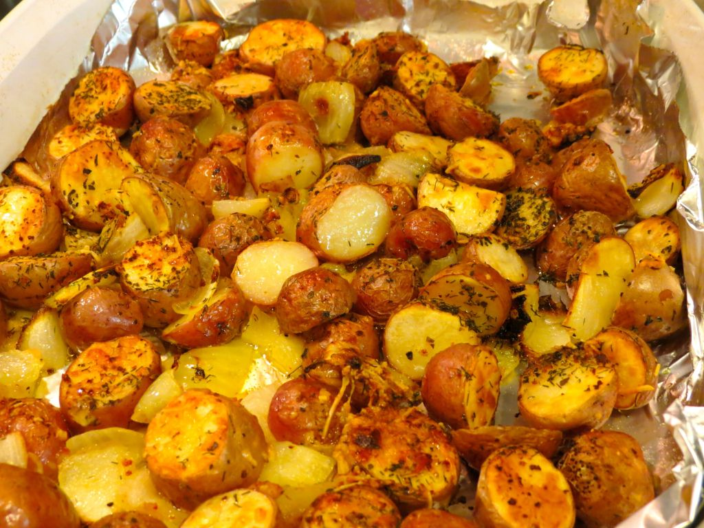 Oven Roasted Red Potatoes out of oven