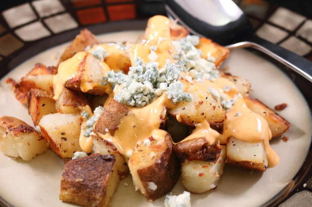 Buffalo Style Potatoes with Crumbled Blue Cheese