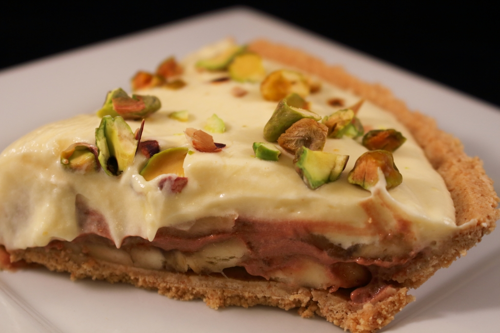 Double Layered Banana Pie with Pistachios and Chocolate Sliced