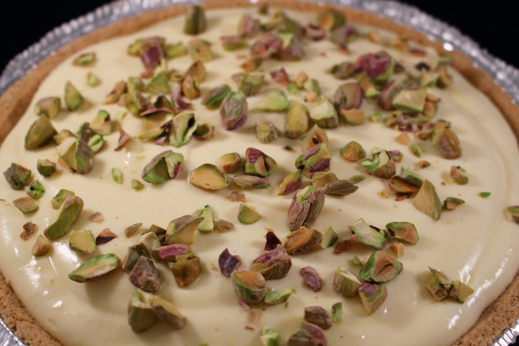 Double Layered Banana Pie with Pistachios and Chocolate whole pie