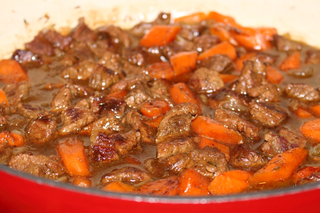 Beef in Guinness in braising pan