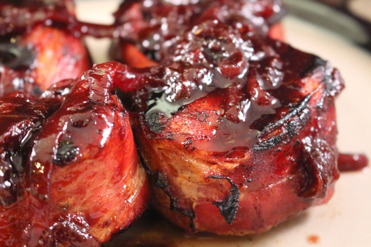 Wood-Grilled Prosciutto Wrapped Pork Medallions with a Fig & Port Wine Sauce