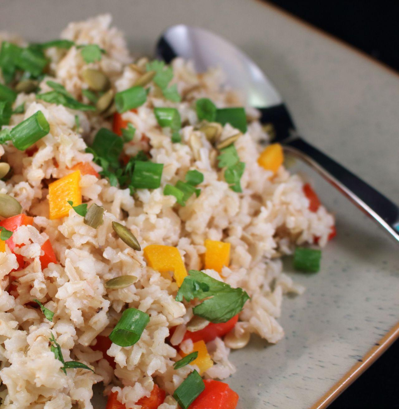Basmati Vegetable Rice with Pumpkin Seeds Closeup