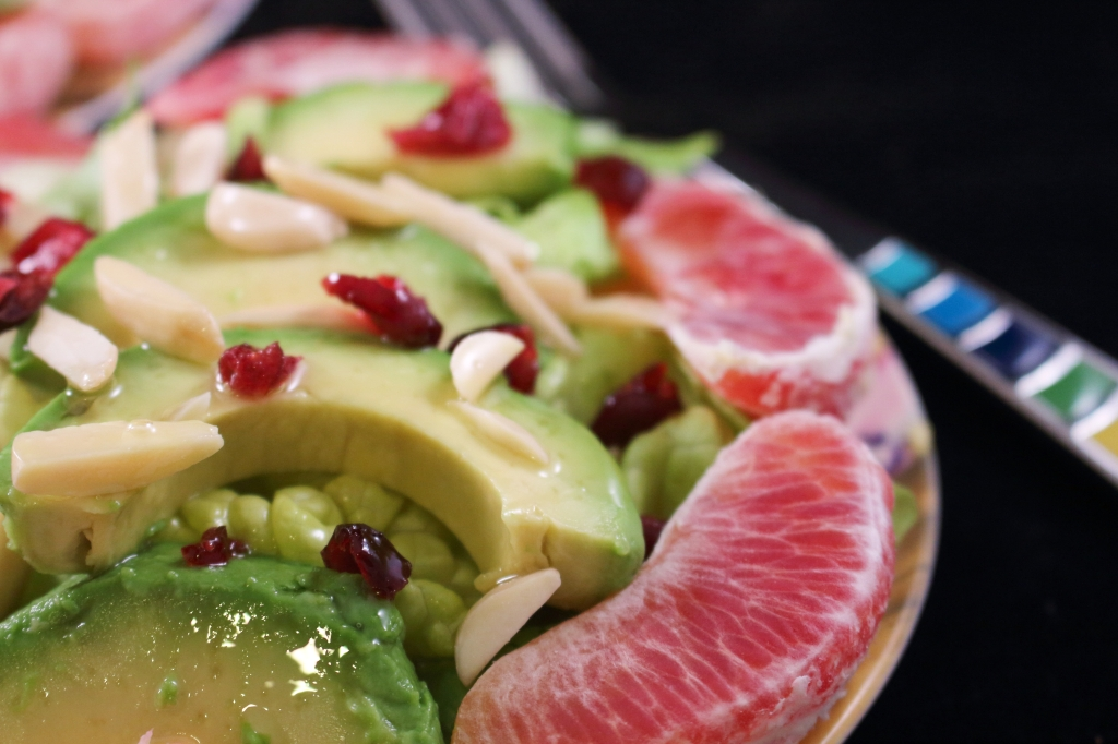 Blood Orange Avocado Salad with Macadamia Nut Oil Close up photo