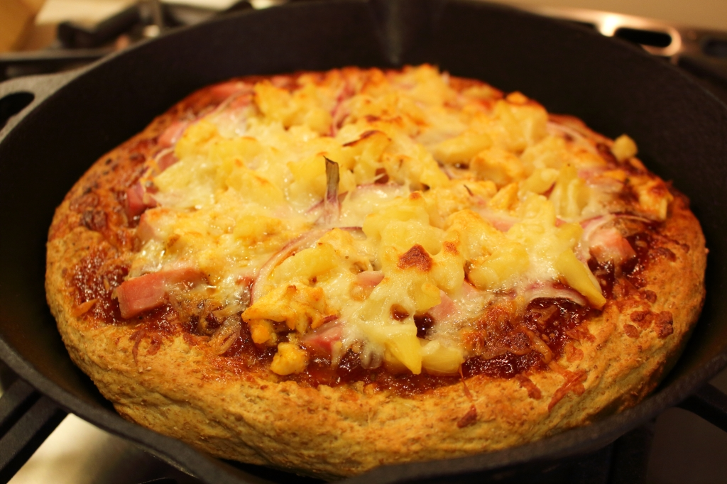 Hawaiian BBQ Pizza out of the oven