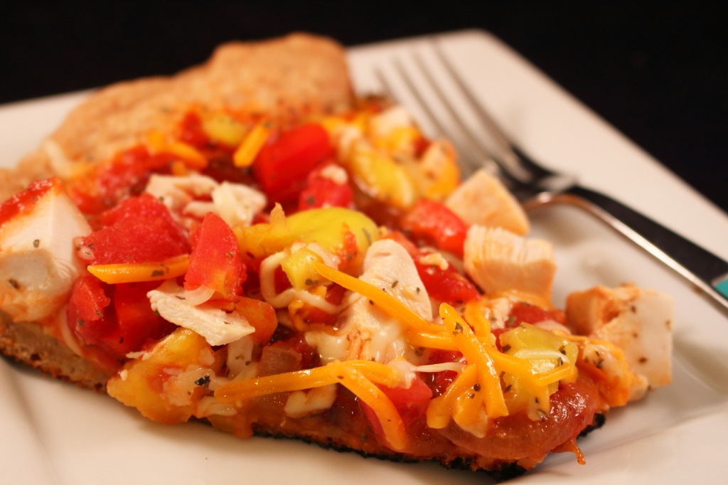 Rustic Cast Iron Vegetable Pizza Topped with BBQ Chicken Close up Photo