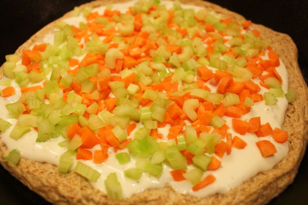 Buffalo Blue Cheese Wing Pizza with carrots and celery