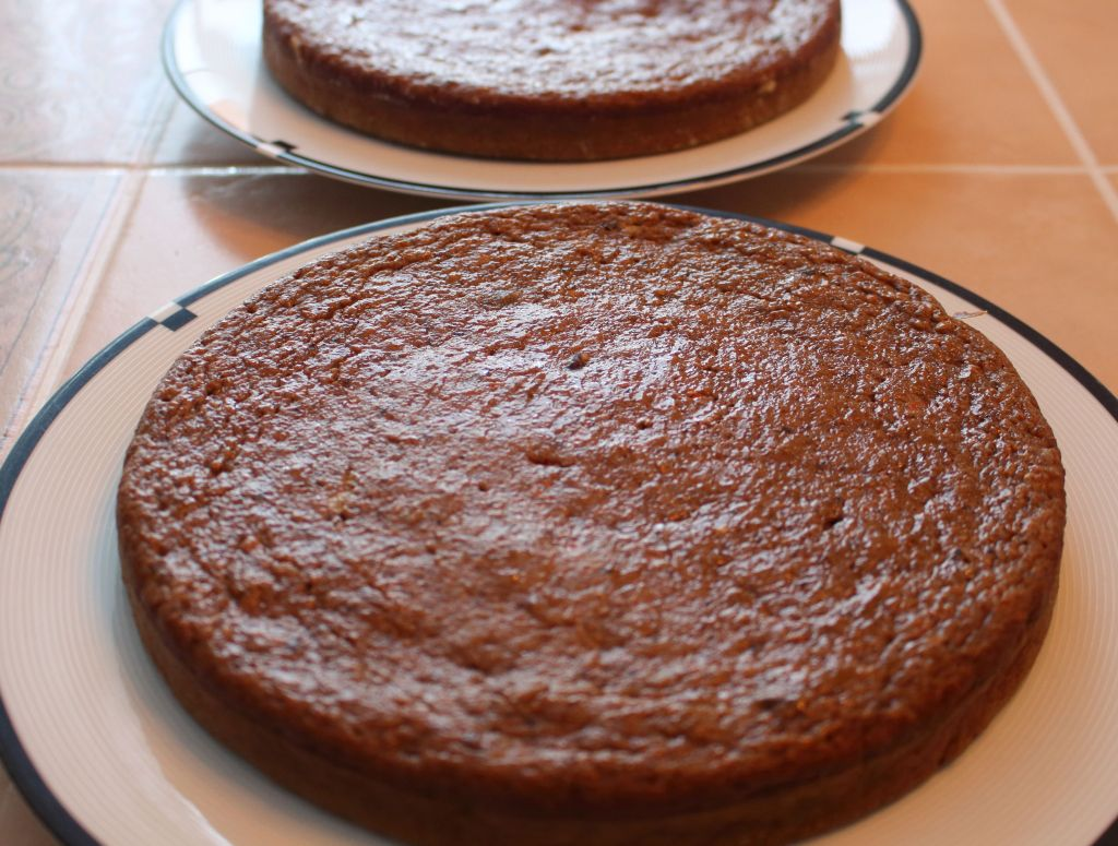 Healthier Carrot Applesauce Spice Cake before icing