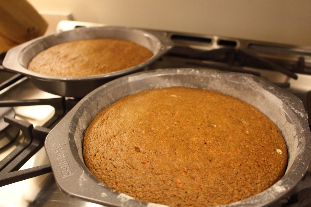 Healthier Carrot Applesauce Spice Cake out of the oven