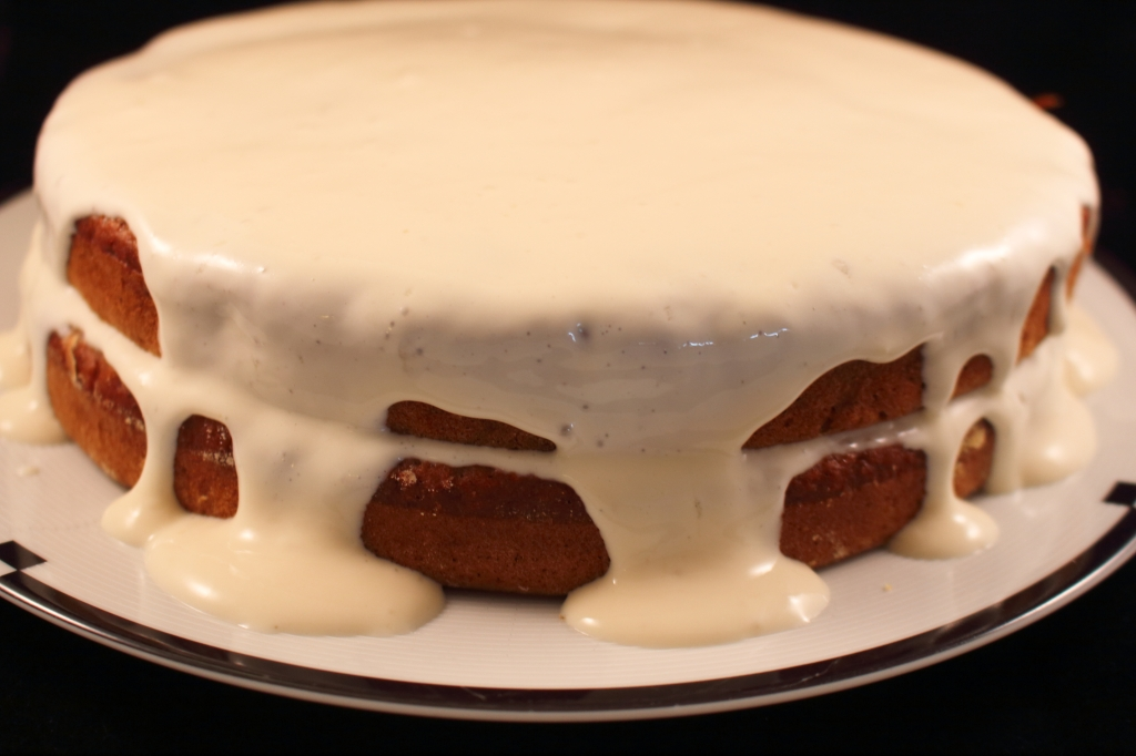 Healthier Carrot Applesauce Spice Cake two layers with tofu icing