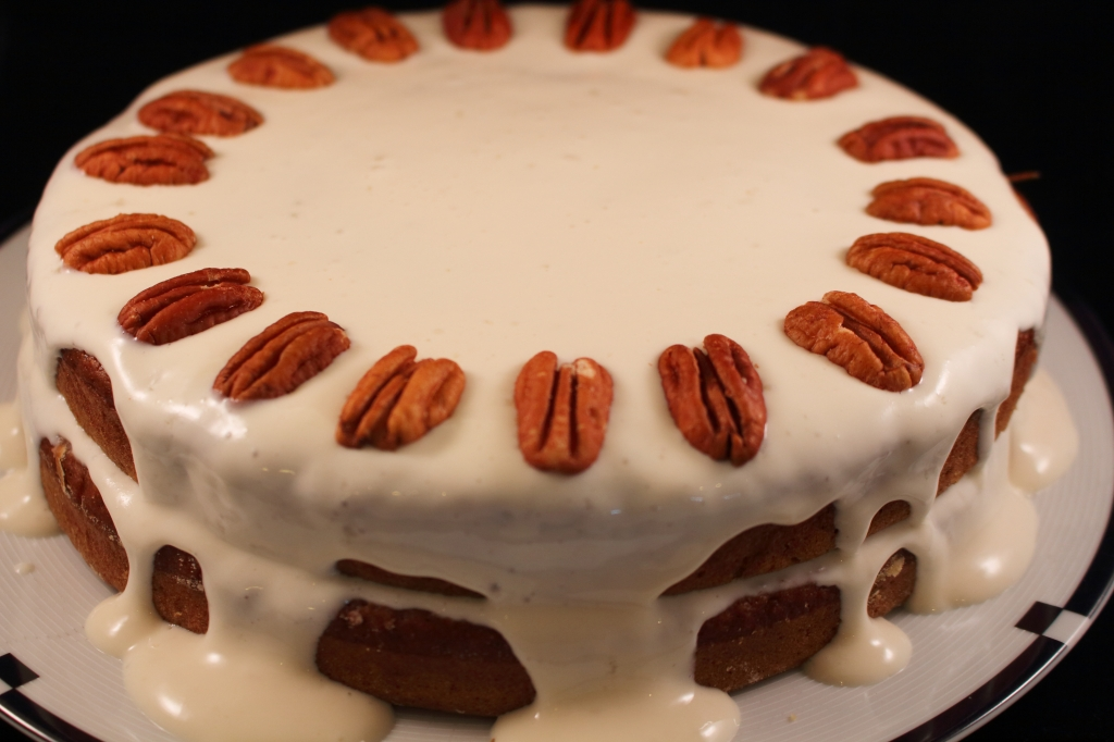 Healthier Carrot Applesauce Spice Cake with pecans