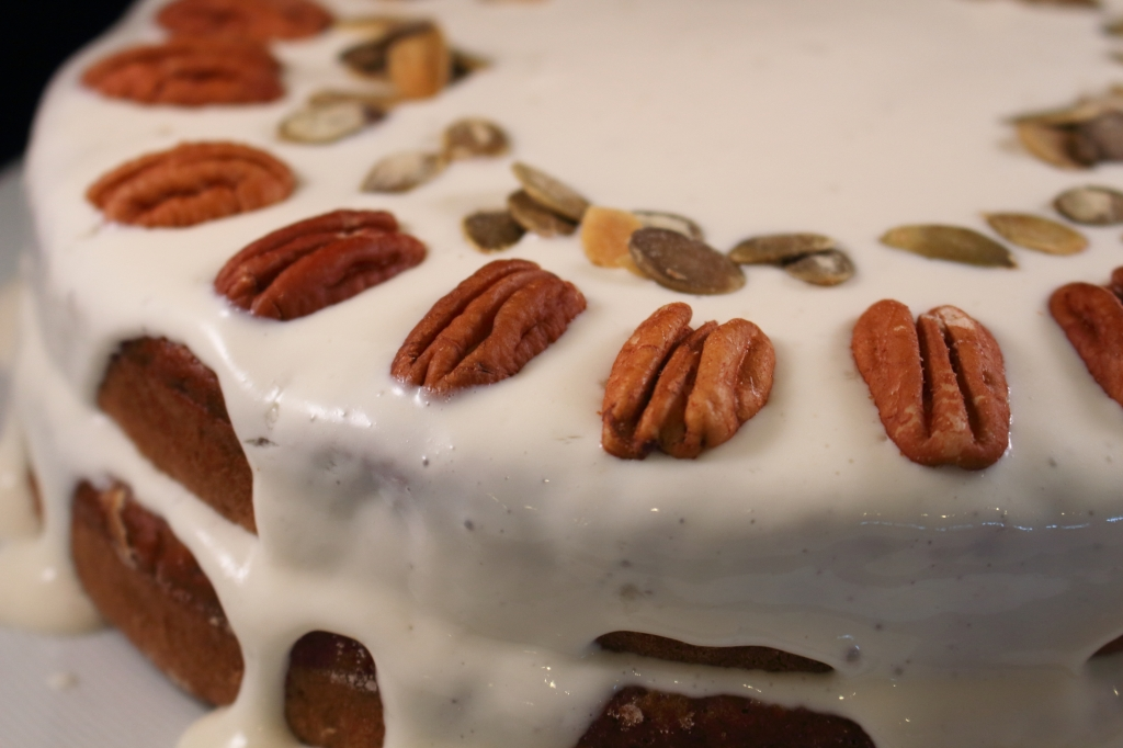 Healthier Carrot Applesauce Spice Cake with pistachios