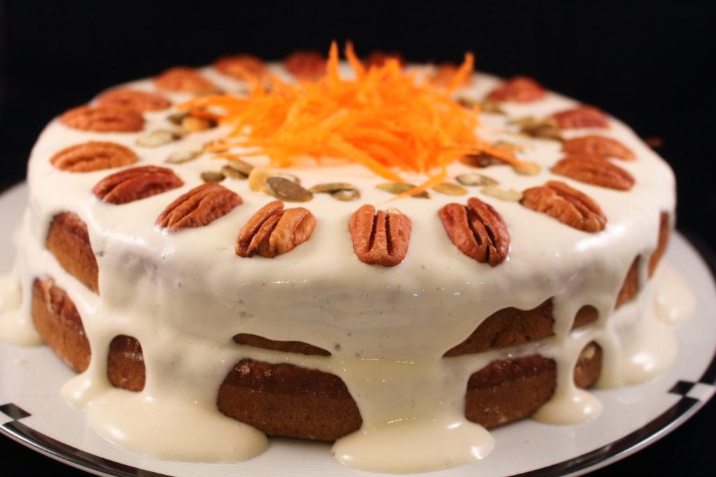 Healthier Carrot Applesauce Spice Cake with shredded carrots full cake