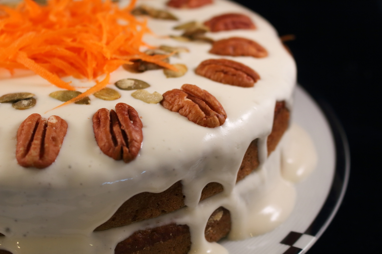 Healthier Carrot Applesauce Spice Cake with shredded carrots side view