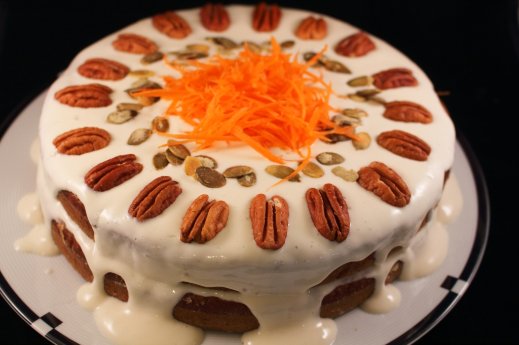 Healthier Carrot Applesauce Spice Cake with shredded carrots