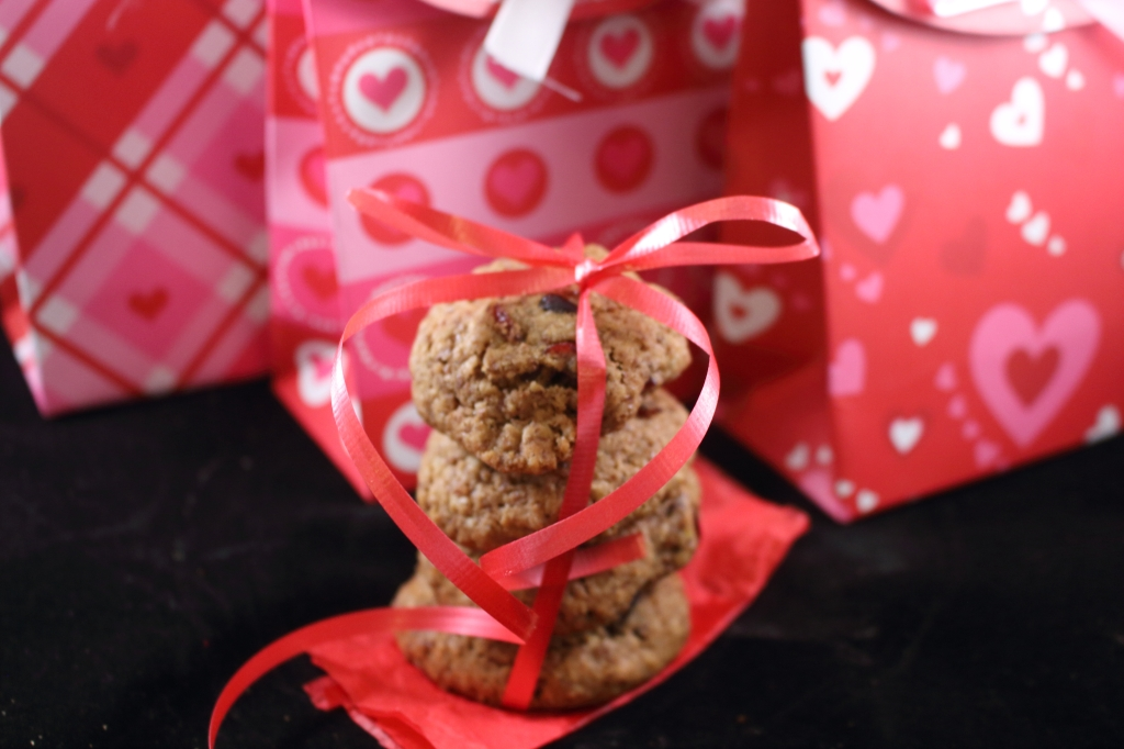 Healthy Whole Grain Cinnamon Oatmeal and Fruit Cookie in Valentine Bags