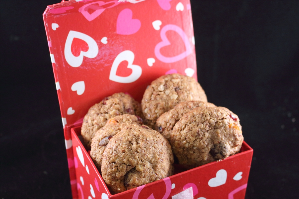 Healthy Whole Grain Cinnamon Oatmeal and Fruit Cookie in Valentine Box close up