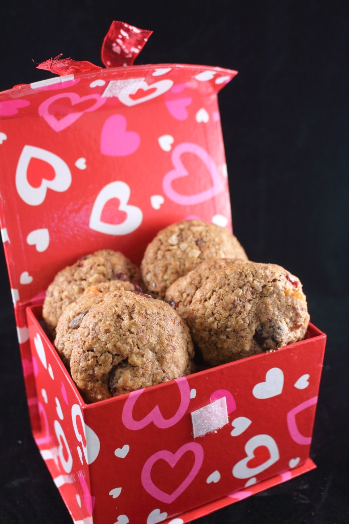 Healthy Whole Grain Cinnamon Oatmeal and Fruit Cookie in Valentine Box