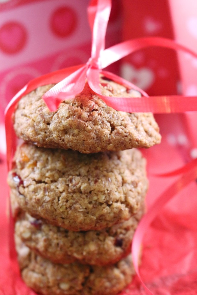 Healthy Whole Grain Cinnamon Oatmeal and Fruit Cookie Stacked closeup
