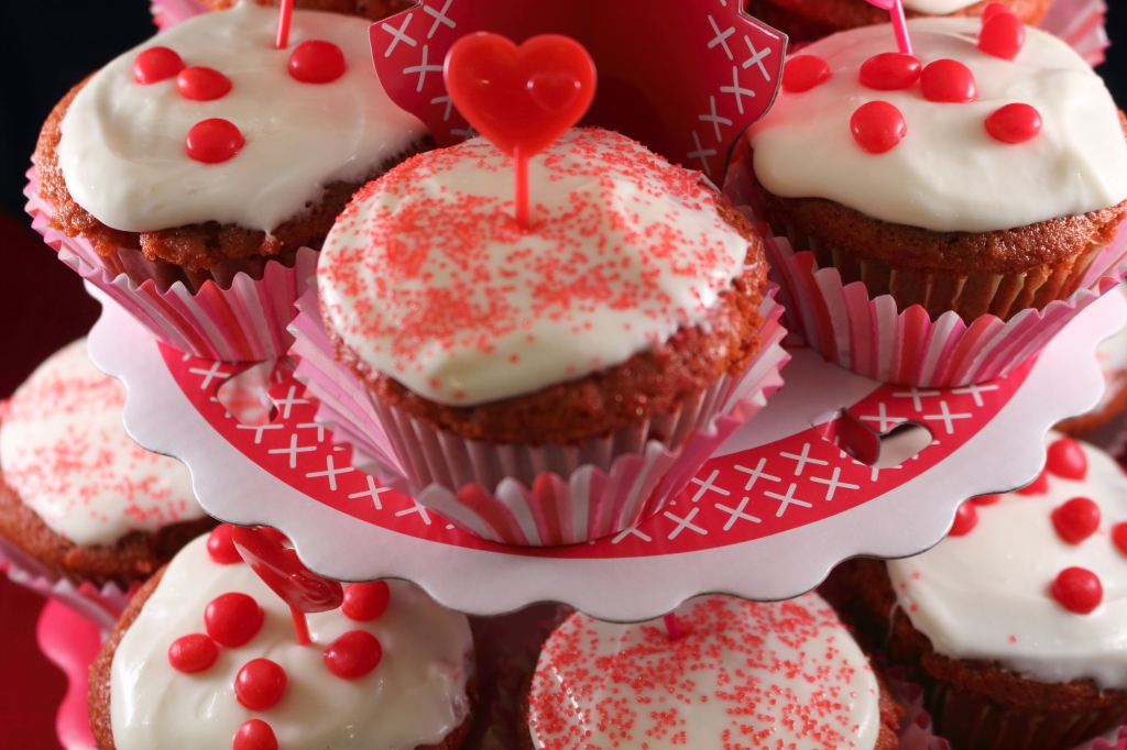 Red Velvet Cupcakes close up on a stand 2