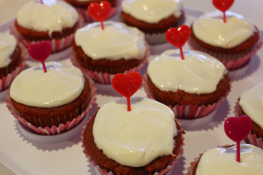 Red Velvet Cupcakes with white icing