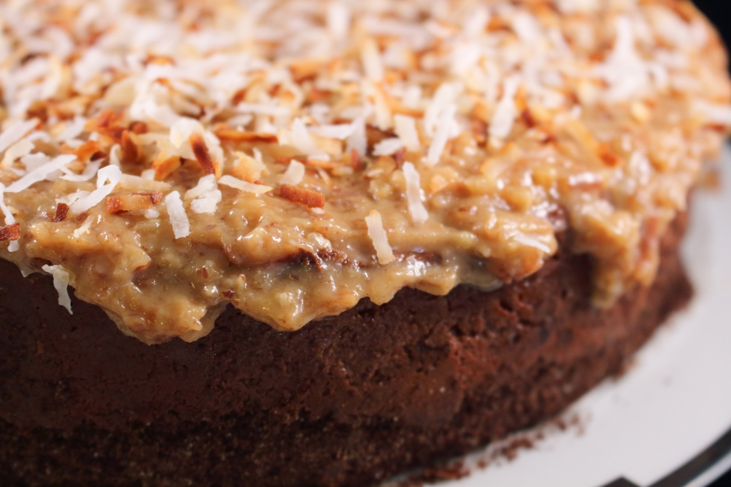 Decandent Chocolate Coconut Cake close up