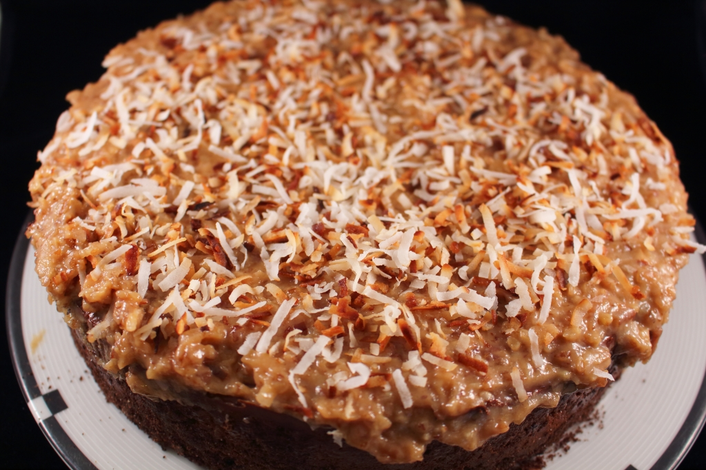 Decandent Chocolate Coconut Cake with icing