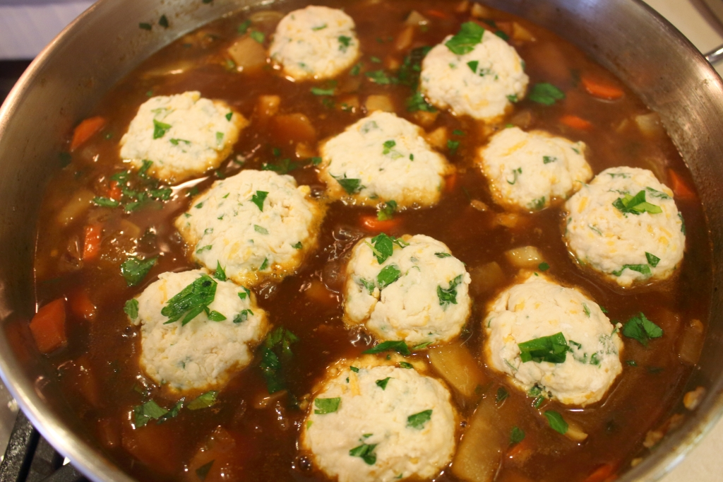 Guinness Beef Stew with Turnips and Parnsips cheddar herb dumplings before steaming