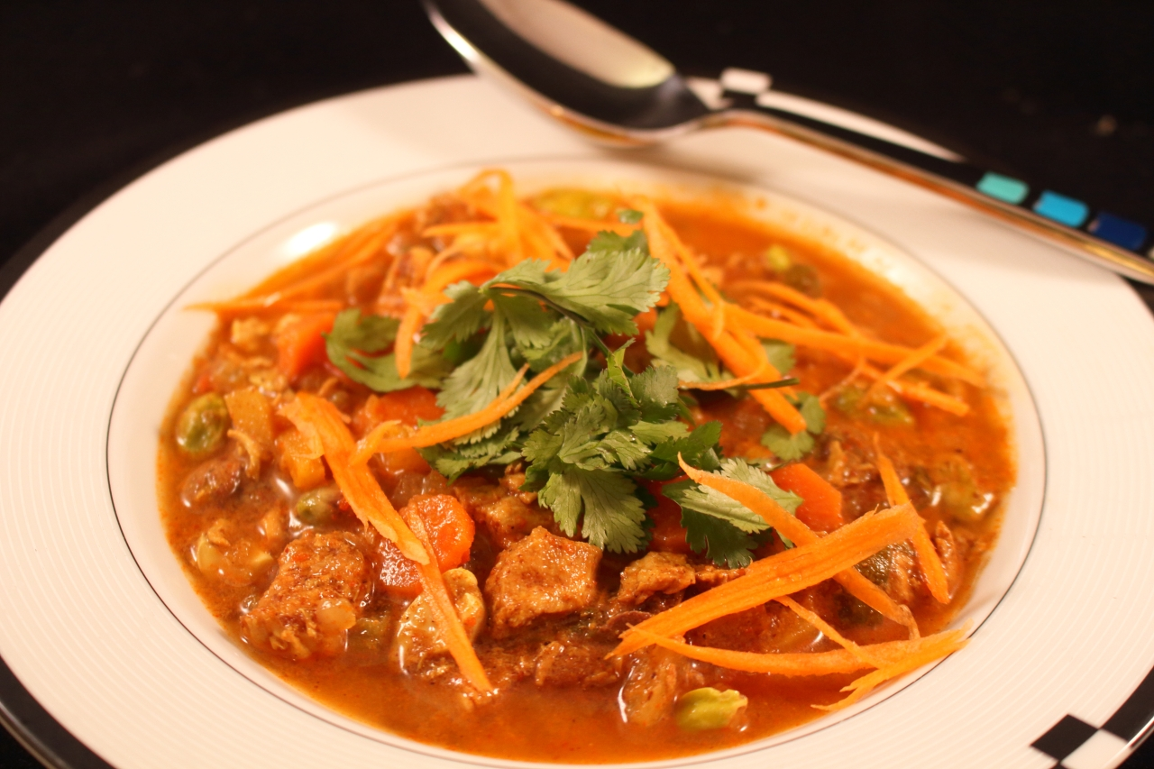 Indian Chicken Curry Soup with carrots as a garnish