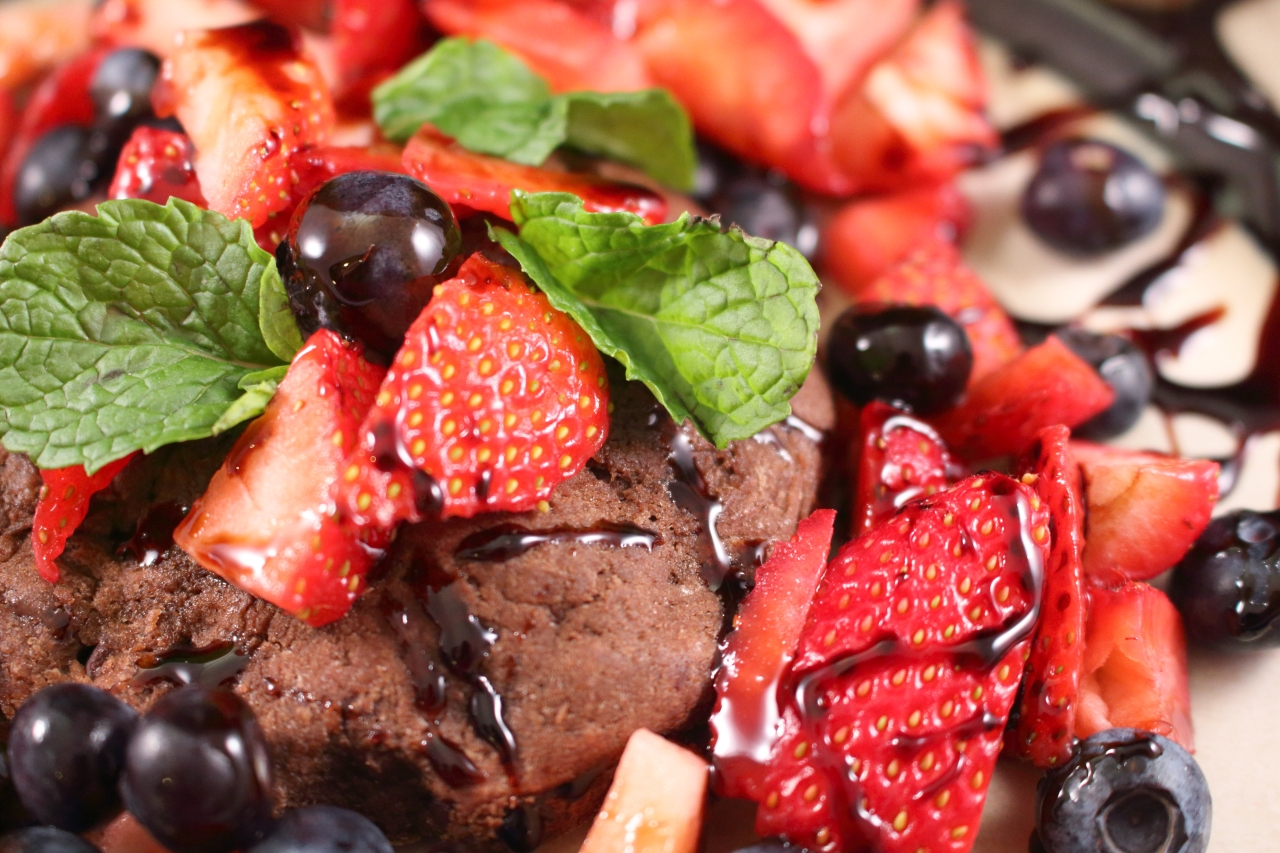Strawberry and Blueberry Chocolate Shortcake with Reduced Balsamic Glaze close up picture