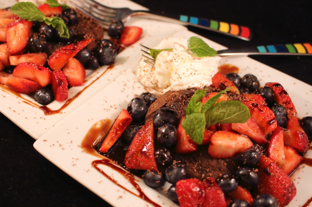 Strawberry and Blueberry Chocolate Shortcake with Reduced Balsamic Glaze dual plated