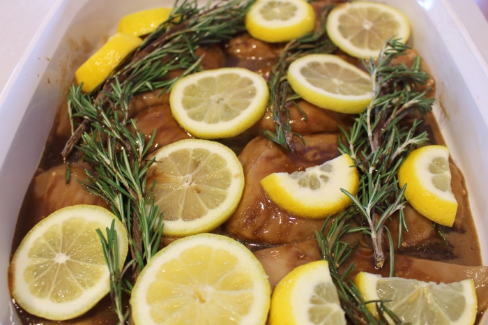 Roasted Lemon Rosemary Balsamic Chicken before going into the oven