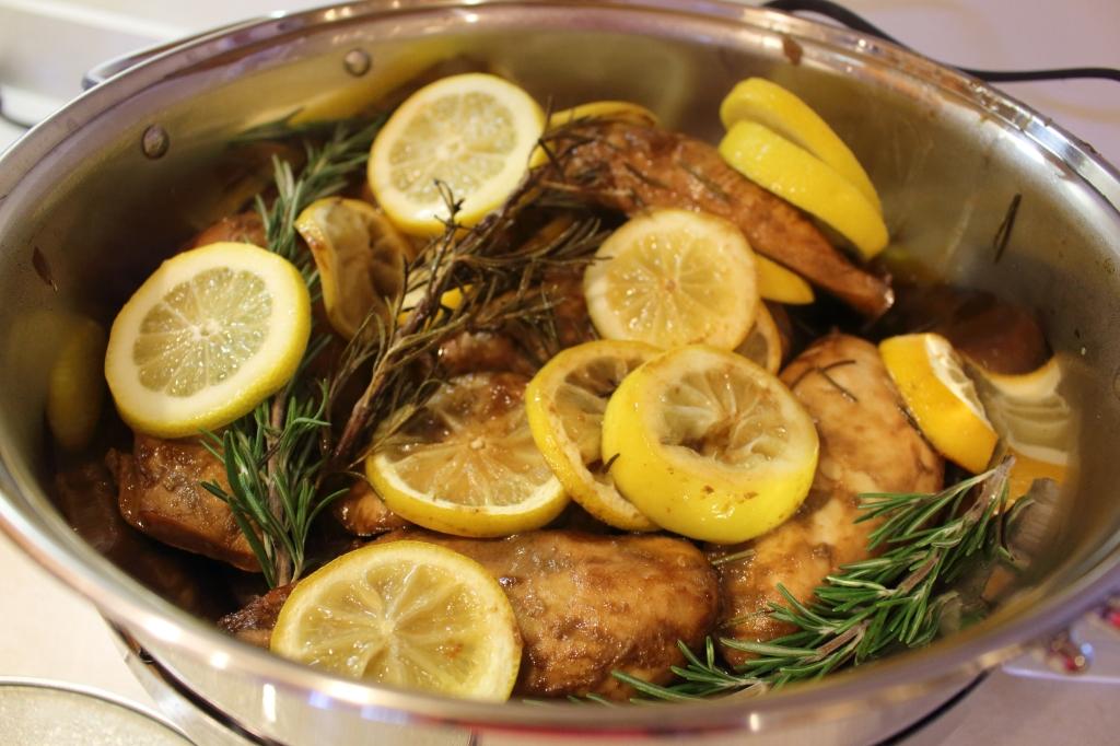 Roasted Lemon Rosemary Balsamic Chicken in serving pan