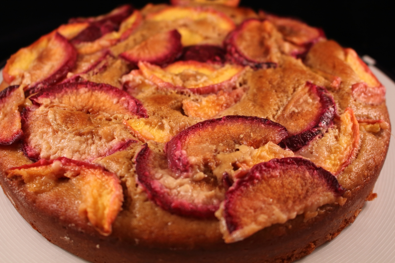 Gingery Nectarine and Plum Cake - closeup of cake copy