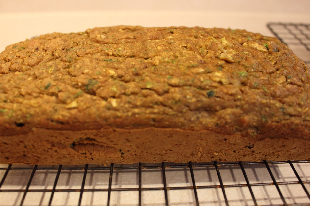 Zucchini and Walnut Bread - out of the pan