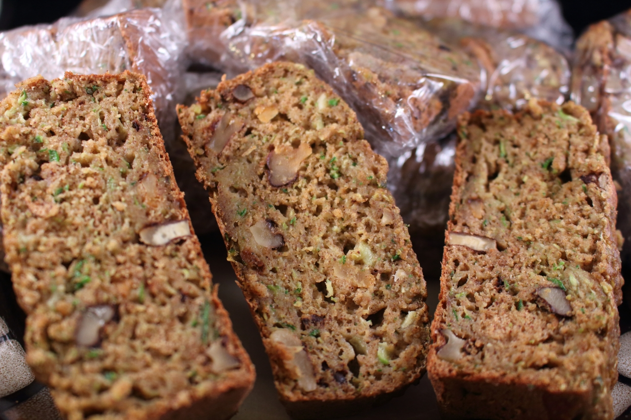 Zucchini and Walnut Bread - sliced and ready for the freezer